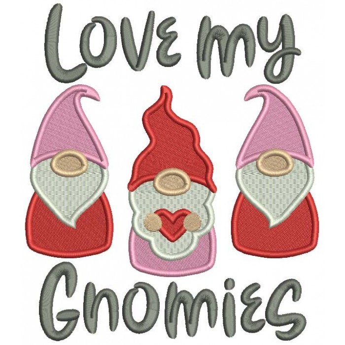 Love My Gnomes Valentine's Day Filled Machine Embroidery Design Digitized Pattern