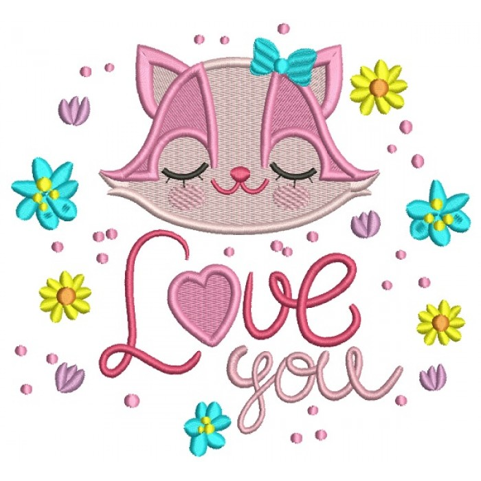 Love You Girl Racoon Filled Machine Embroidery Design Digitized Pattern