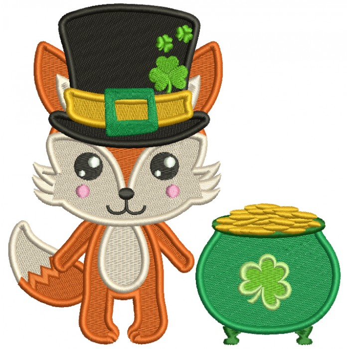 Lucky Fox With Big Hat Next to Pot Of Gold St. Patrick's Day Filled Machine Embroidery Design Digitized Pattern