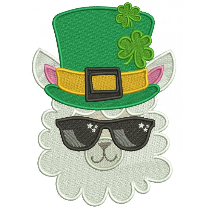 Lucky Llama St. Patrick's Day Filled Machine Embroidery Design Digitized Pattern