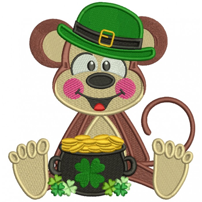 Lucky Monkey With a Pot Of Gold St. Patrick's Filled Machine Embroidery Design Digitized
