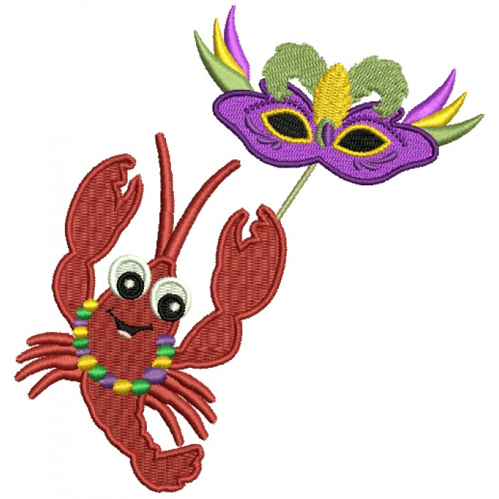 Mardi Gras Lobster Holding The Mask Filled Machine Embroidery Design Digitized Pattern