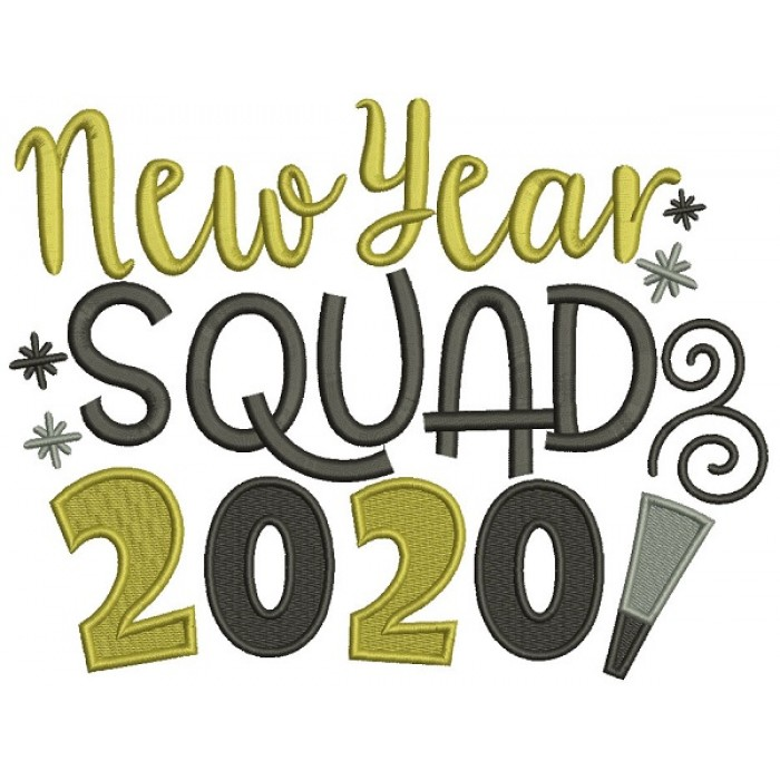 New Year Squad 2020 Filled Machine Embroidery Design Digitized Pattern