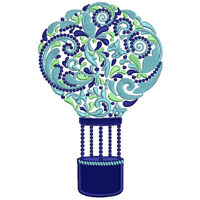 Ornate Hot Air Balloon Applique Machine Embroidery Design Digitized Pattern