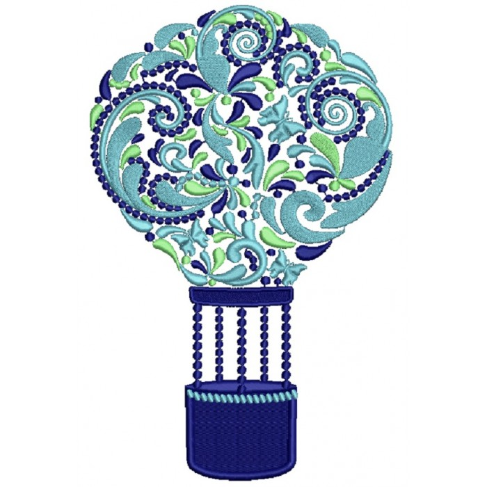 Ornate Hot Air Balloon Filled Machine Embroidery Design Digitized Pattern