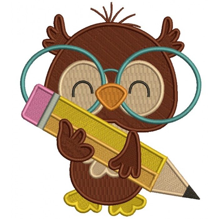 Owl With Big Glasses Holding a Pencil School Filled Machine Embroidery Design Digitized Pattern