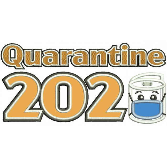 Quarantine 2020 Toilet Paper Wearing a Face Mask Applique Machine Embroidery Design Digitized Pattern