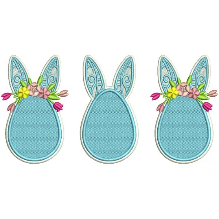 Three Easter Eggs With Bunny Ears Filled Machine Embroidery Design Digitized