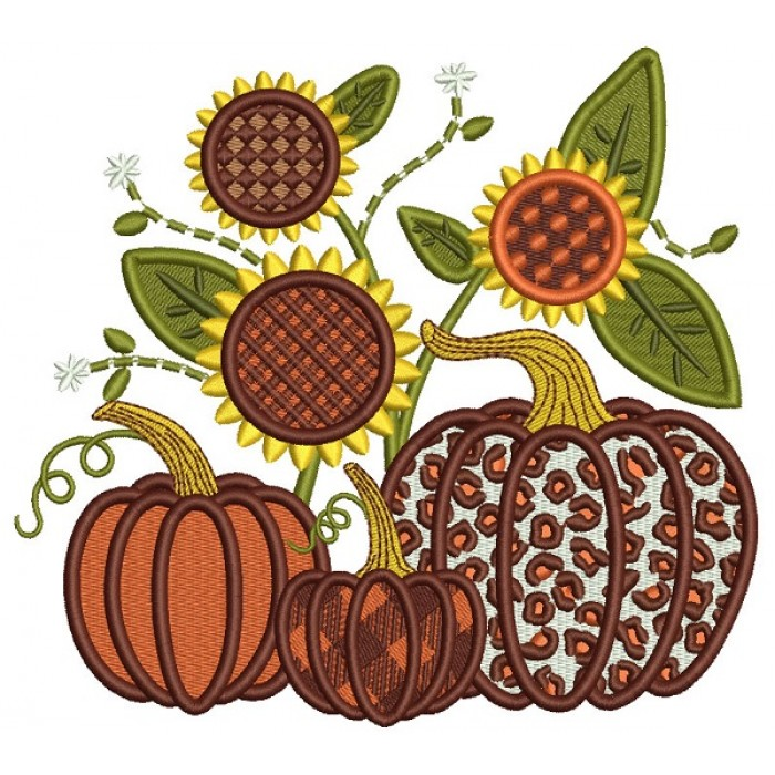 Three Pumpkins And Sunflowers Fall Thanksgiving Filled Machine Embroidery Design Digitized Pattern