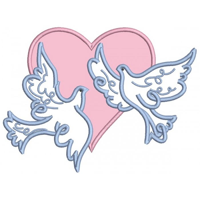 Two Doves And The Heart Applique Machine Embroidery Design Digitized Pattern
