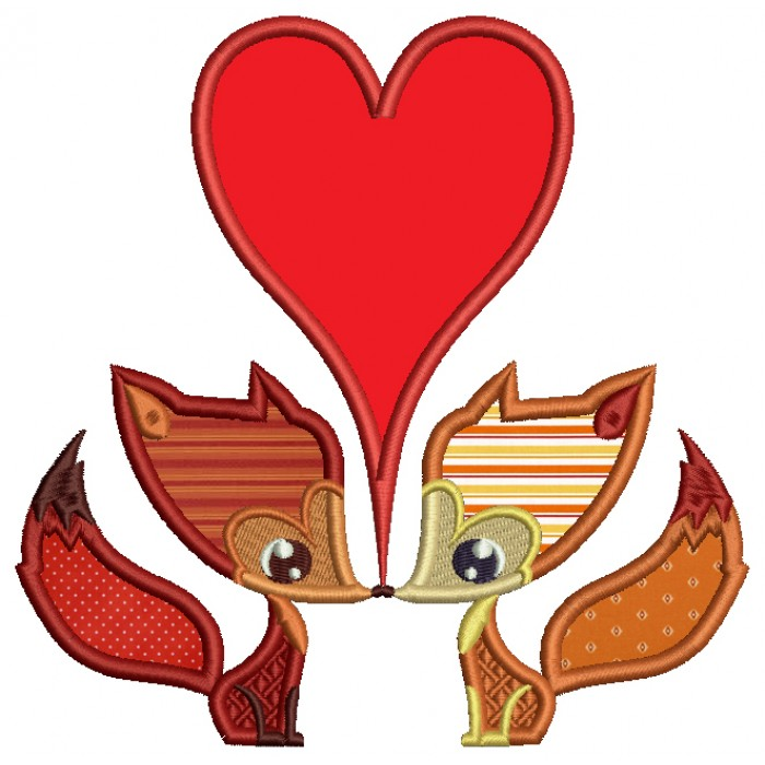 Two Foxes In Love With a Big Heart Applique Machine Embroidery Design Digitized Pattern