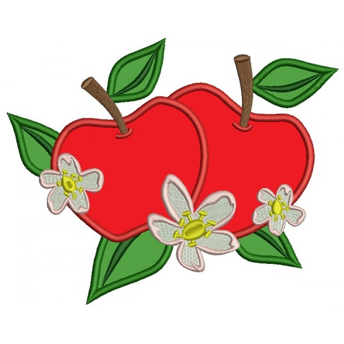Two apples Applique Machine Embroidery Design Digitized Pattern