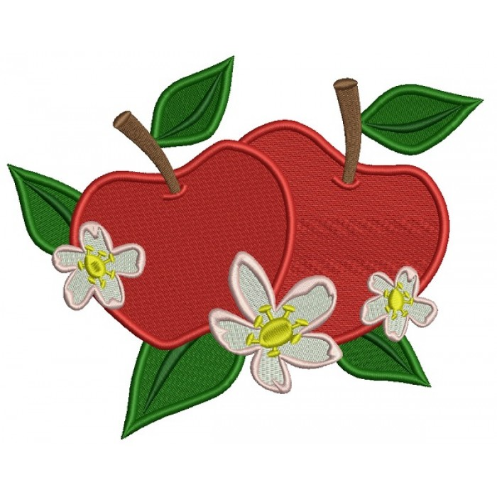 Two apples Filled Machine Embroidery Design Digitized Pattern
