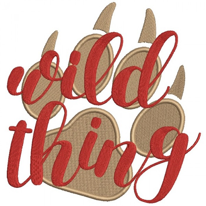 Wild Thing Bear Paw Filled Machine Embroidery Design Digitized Pattern