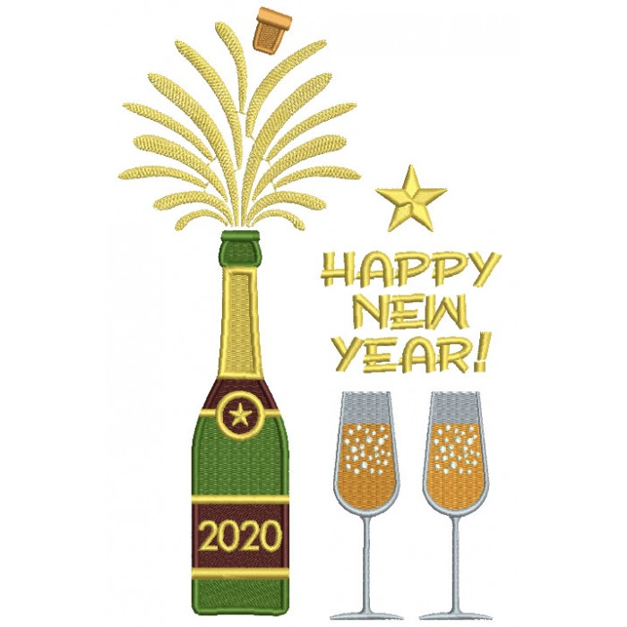 2020 Happy New Year Champagne Glasses Filled Machine Embroidery Design Digitized Pattern
