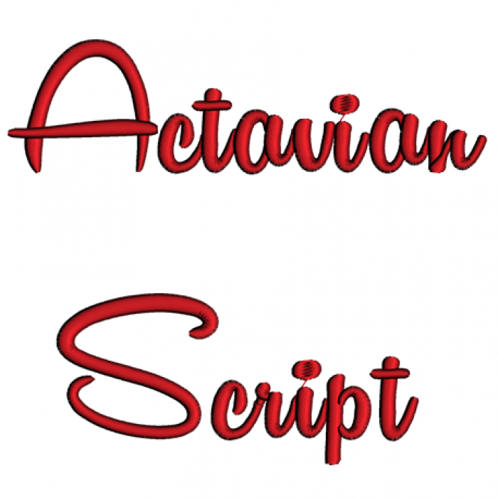Actavian Script Machine Embroidery Font Upper and Lower Case 1 2 3 inches