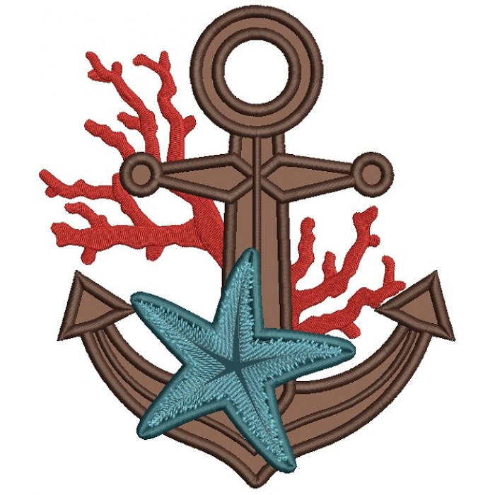 Anchor With Starfish Marine Applique Machine Embroidery Design Digitized Pattern