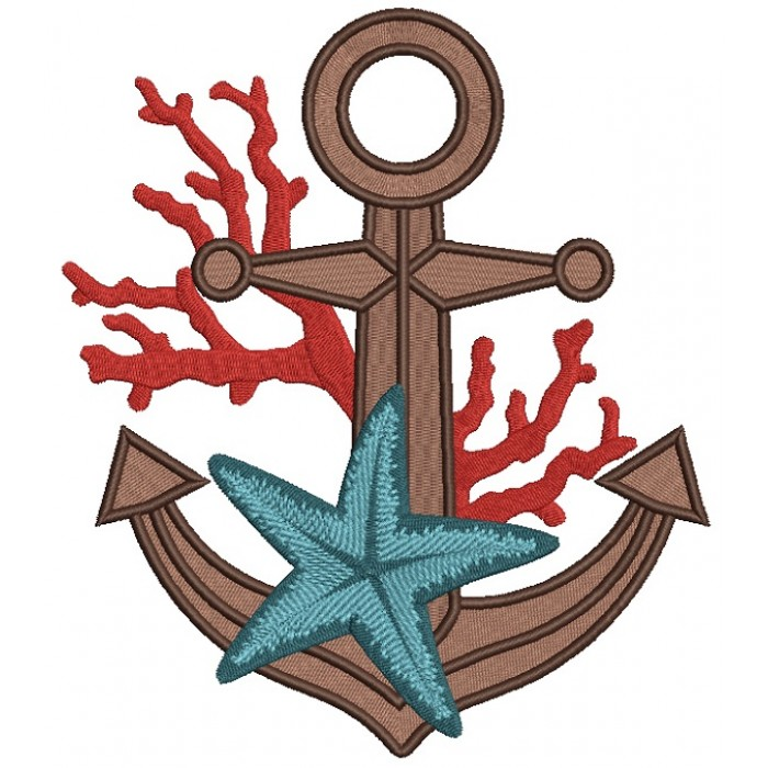 Anchor With Starfish Marine Filled Machine Embroidery Design Digitized Pattern
