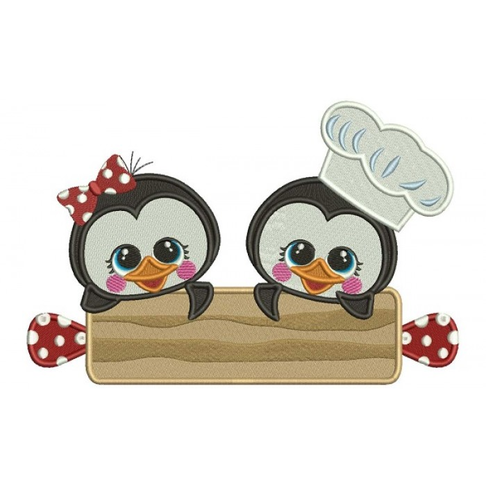 Boy and a Girl Penguins Cooks Filled Machine Embroidery Design Digitized Pattern