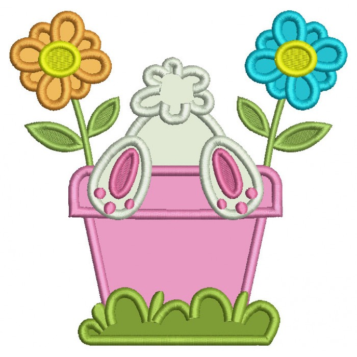 Bunny Upside Down In The Flower Pot Easter Applique Machine Embroidery Design Digitized Pattern