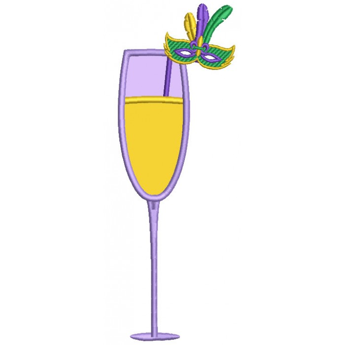 Champagne Glass With Mardi Gras Mask Applique Machine Embroidery Design Digitized Pattern