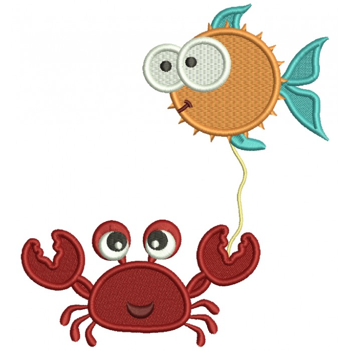 Crab Holding Fish On a String Filled Machine Embroidery Design Digitized Pattern