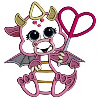 Cute Baby Dragon Holding a Heart Applique Machine Embroidery Design Digitized Pattern