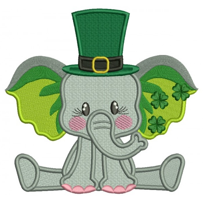 Cute Baby Elephant With Shamrock On His Ears St. Patrick's Filled Machine Embroidery Design Digitized Pattern