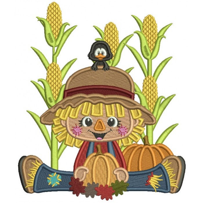 Cute Boy Sitting In The Cornfield Holding Pumpkin Thanksgiving Filled Machine Embroidery Design Digitized Pattern