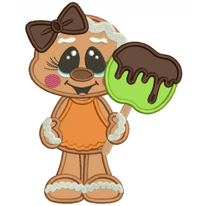 Cute Gingerbread Girl Holding Apple Covered With Chocolate Applique Thanksgiving Machine Embroidery Design Digitized Pattern