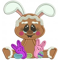 Cute Gingerbread Man Holding Easter Bunnies Applique Machine Embroidery Design Digitized