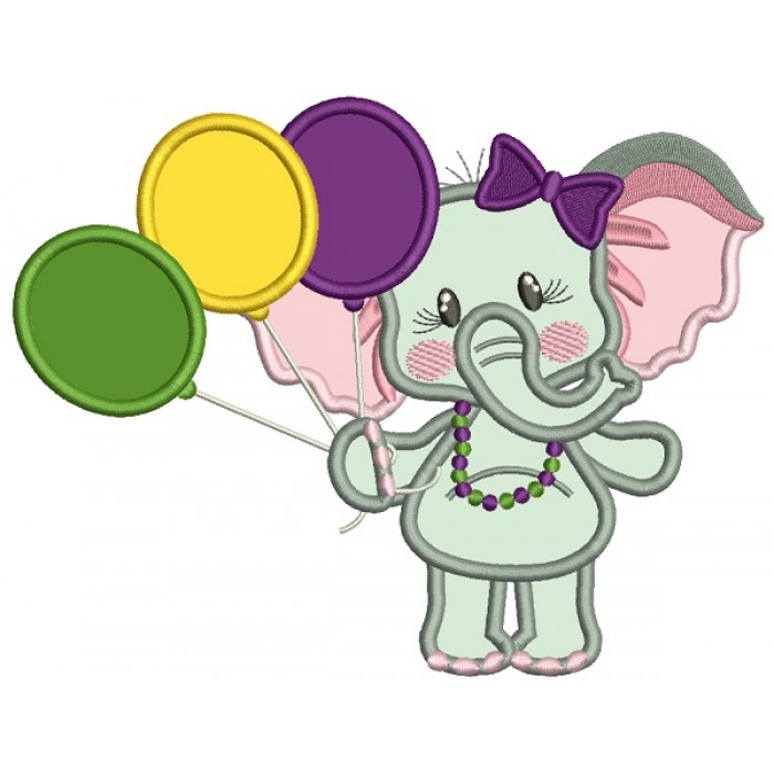 Cute Girl Elephant Holding Balloons Mardi Gras Applique Machine Embroidery Design Digitized Pattern