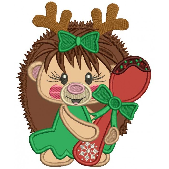 Cute Hedgehog Holding a Spoon Applique Christmas Machine Embroidery Design Digitized Pattern