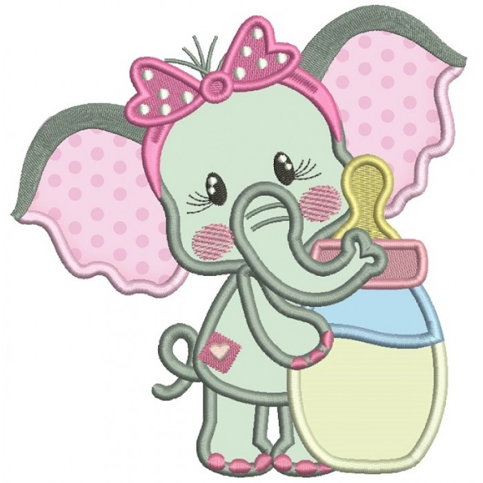Cute Little Baby Elephant Holding Milk Bottle Applique Machine Embroidery Design Digitized Pattern