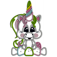 Cute Little Baby Unicorn With Gum Drops Applique Machine Embroidery Design Digitized Pattern