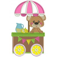 Cute Little Bear Behind a Lemonade Stand Applique Machine Embroidery Design Digitized Pattern