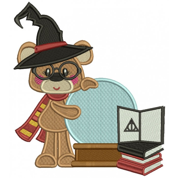Cute Little Bear Wearing Hagwort's Hat And Gryffindor Scarf Filled Machine Embroidery Design Digitized Pattern