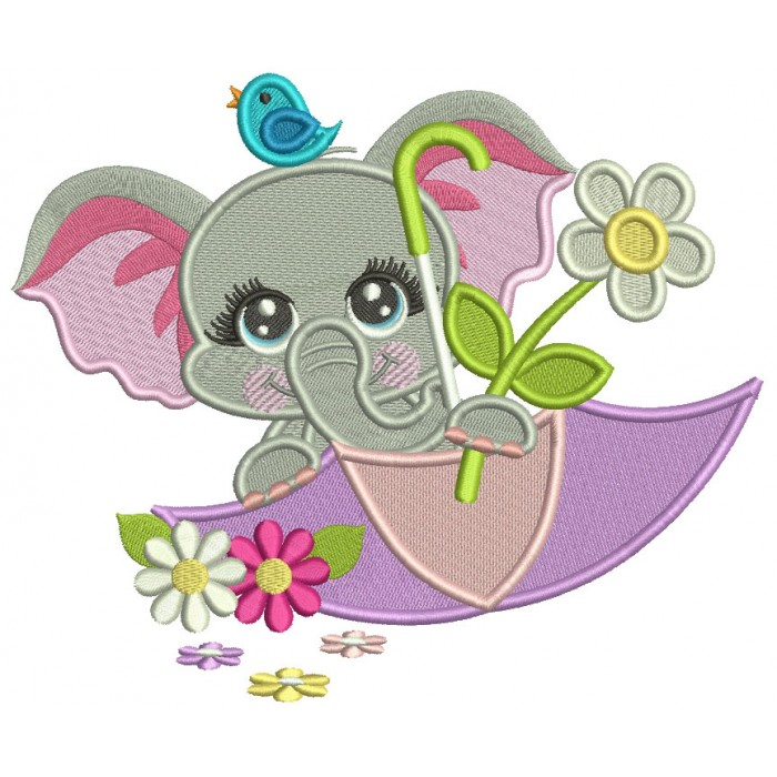Cute Little Elephant Inside An Umbrella Filled Machine Embroidery Design Digitized Pattern
