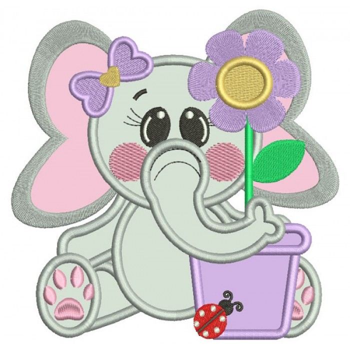 Cute Little Elephant With a Flower Pot Applique Machine Embroidery Design Digitized Pattern