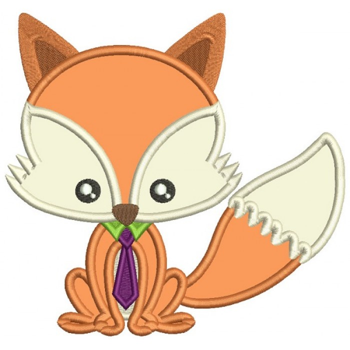 Cute Little Fow Wearing a Tie Applique Machine Embroidery Design Digitized Pattern