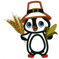 Cute Little Penguin Harvest Thanksgiving Applique Machine Embroidery Design Digitized Pattern