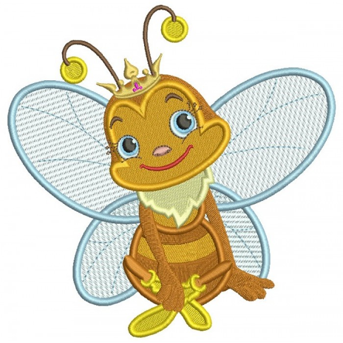 Cute Little Queen Bee Filled Machine Embroidery Design Digitized Pattern