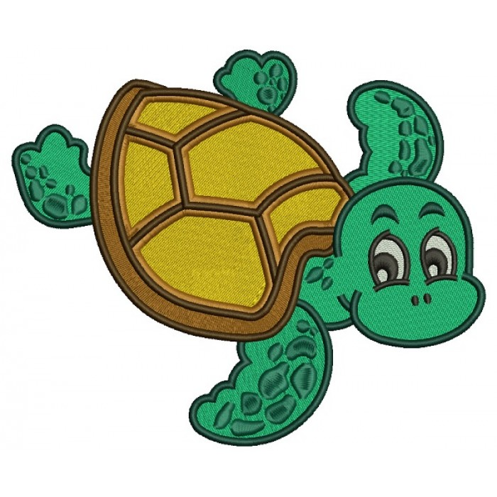 Cute Little Swimming Turtle Filled Machine Embroidery Design Digitized Pattern