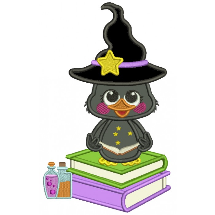 Cute Little Wizard Crow SItting On Potion Books Applique Halloween Machine Embroidery Design Digitized Pattern