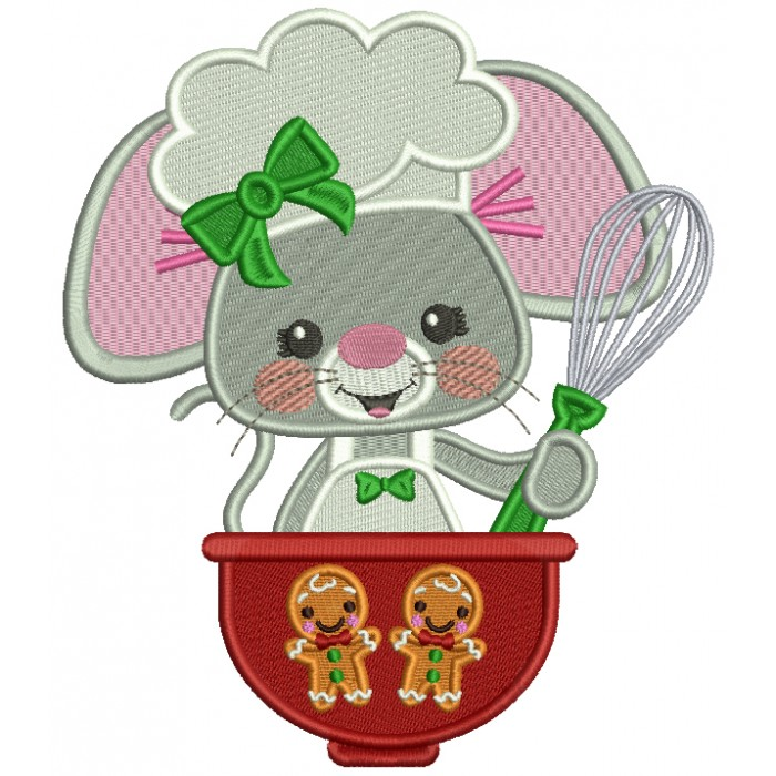 Cute Mouse Cook Filled Christmas Machine Embroidery Design Digitized Pattern
