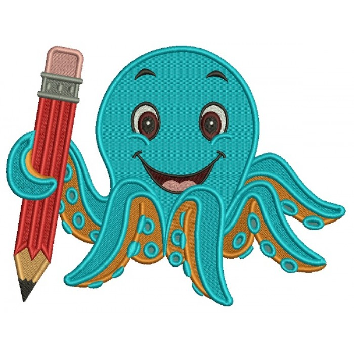 Cute Octopus Holding a BIg Pencil School Filled Machine Embroidery Design Digitized Pattern