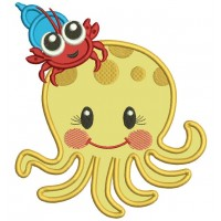 Cute Octopus With Little Carb Applique Machine Embroidery Design Digitized Pattern