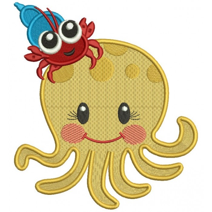 Cute Octopus With Little Carb Filled Machine Embroidery Design Digitized Pattern
