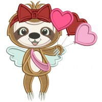 Cute Sloth With Heart Shaped Balloons Applique Valentine's Day Machine Embroidery Design Digitized Pattern