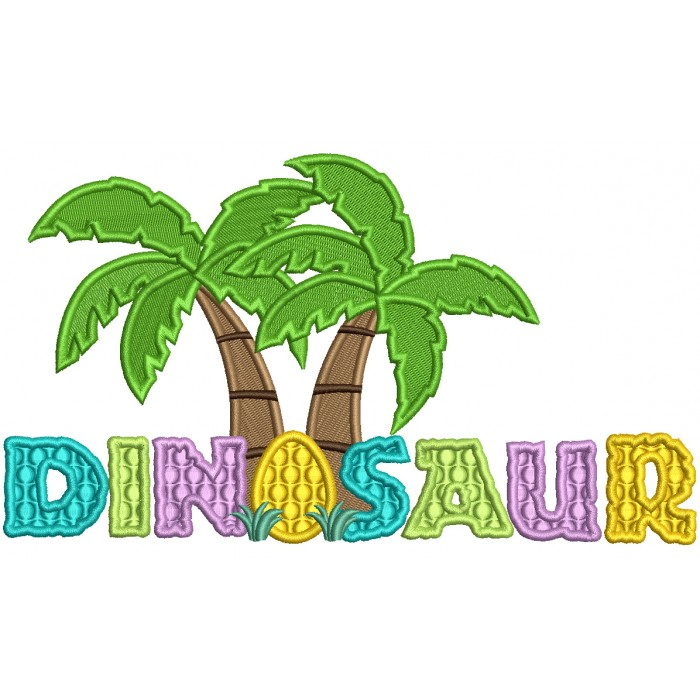 Dinosaur Egg And Palm Trees Filled Machine Embroidery Design Digitized Pattern